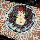 шоколадный брауни торт со снеговиком