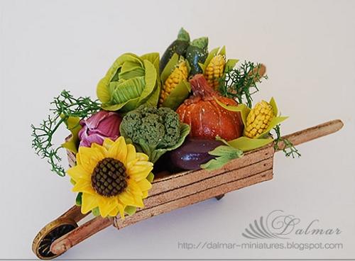 поделка тележка с овощами