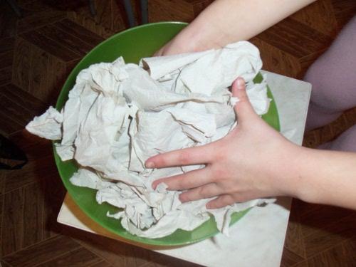 папье-маше из туалетной бумаги