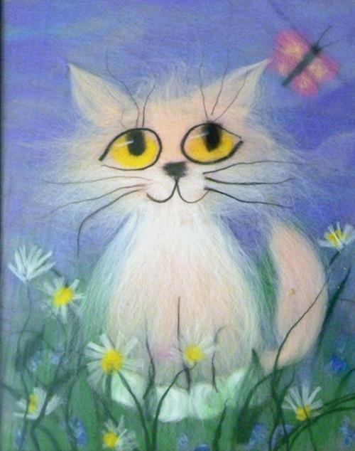 картина из шерсти котенок