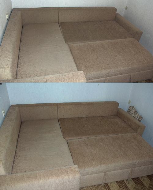 диван до и после химчистки