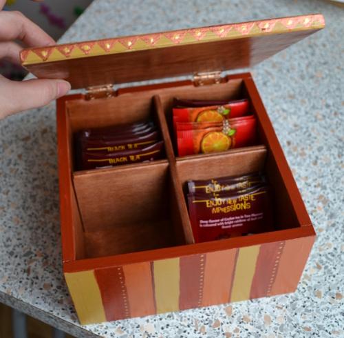 шкатулка для чая 4 отделения