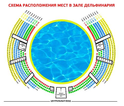 схема зала дельфинария