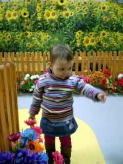 ребенок в мини-зоопарке