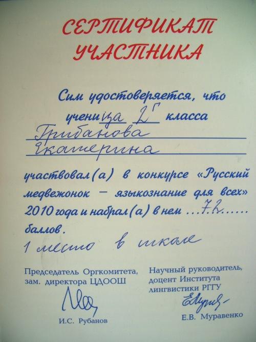 сертификат участника русский медвежонок