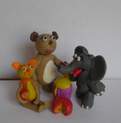 кот слон медведь из пластилина