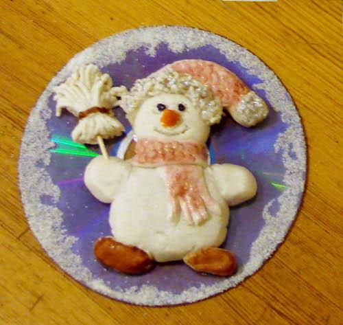 снеговик соленое тесто